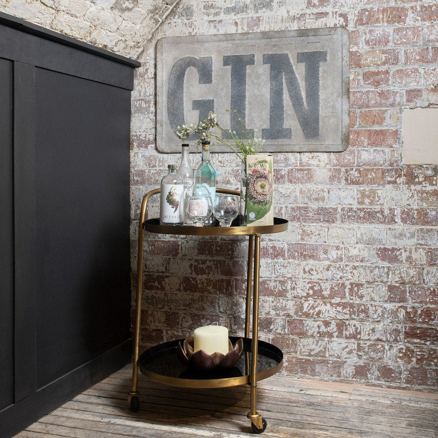 Distressed Metal Gin Wall Sign | Farthing