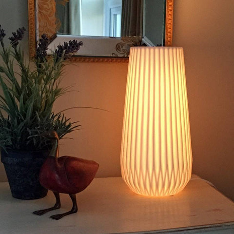 Modern Chic Ceramic Fluted Vase Lamp - The Farthing  - 1