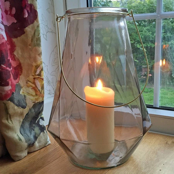 Large Glass Nude Lantern with Brass Handle - The Farthing  - 1