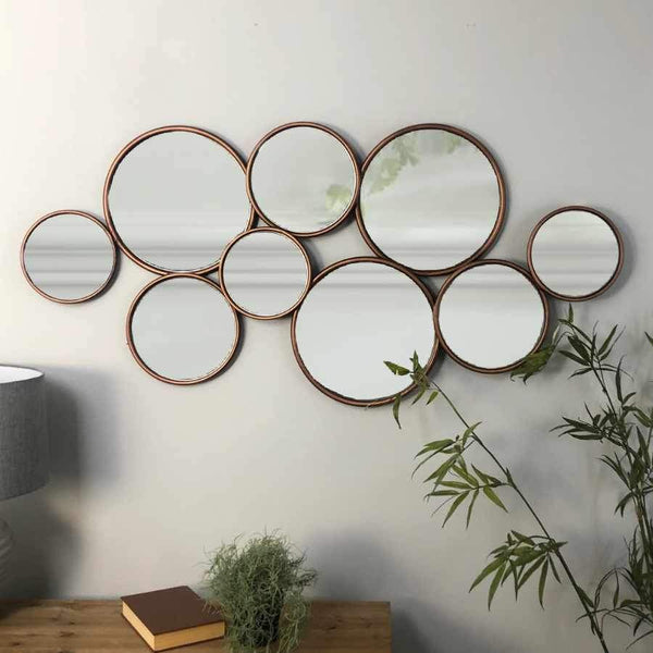 Copper Circles Decorative Mirror at the Farthing