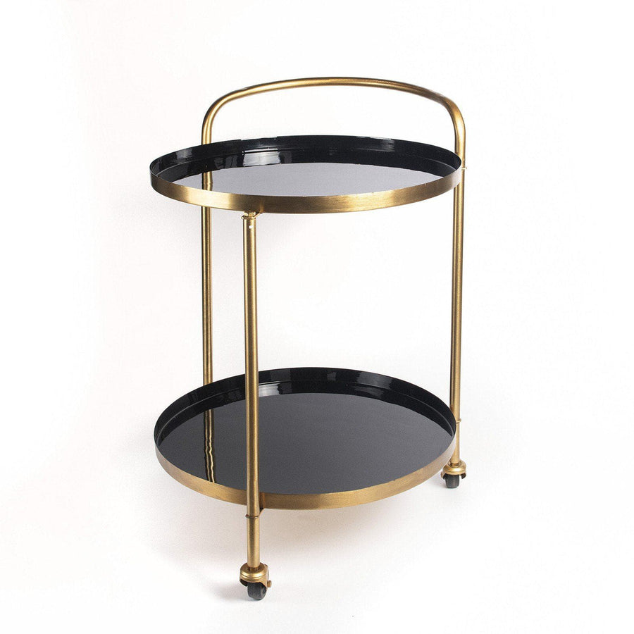 Enamel Topped Gold Drinks Trolley with Handle