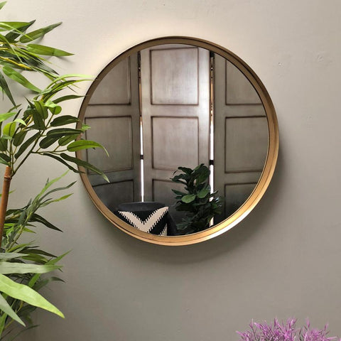 Antiqued Gold Round Mirror at the Farthing