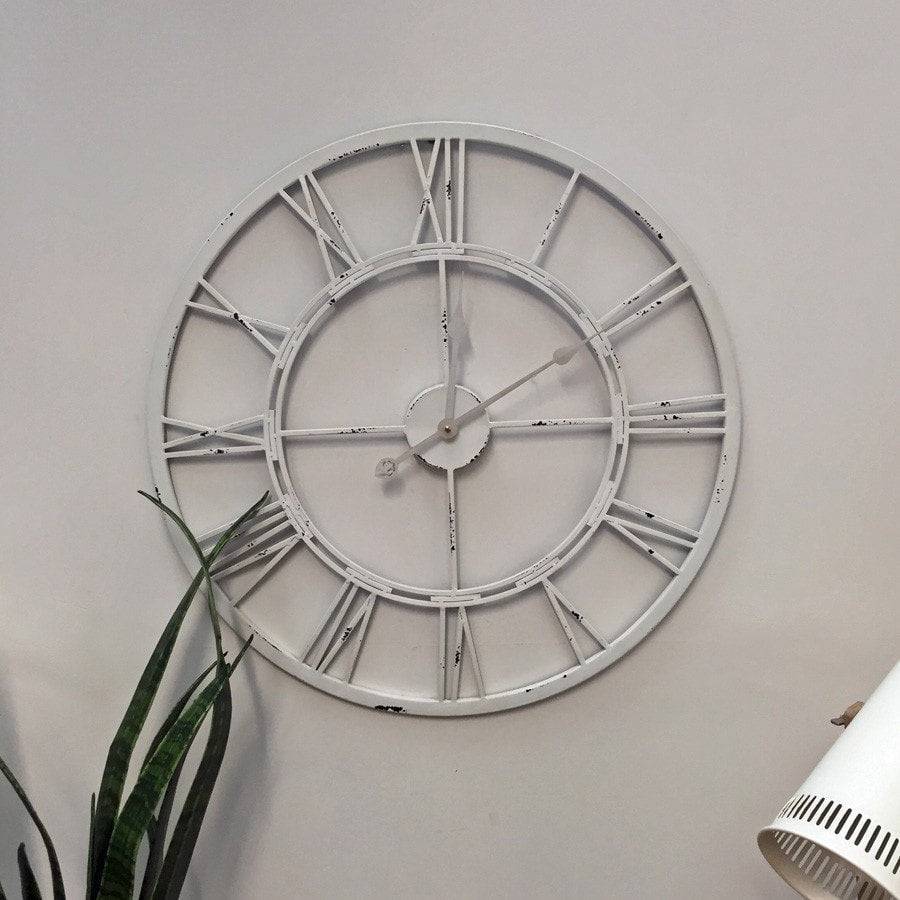 Metal skeleton wall clock gallery home wall decoration ideas distressed white skeleton wall clock shabby clocks uk the farthing antiqued white skeleton wall clock the amipublicfo Image collections