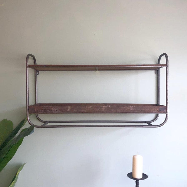 Industrial Metal Frame and Wood Shelf Wall Unit | The Farthing