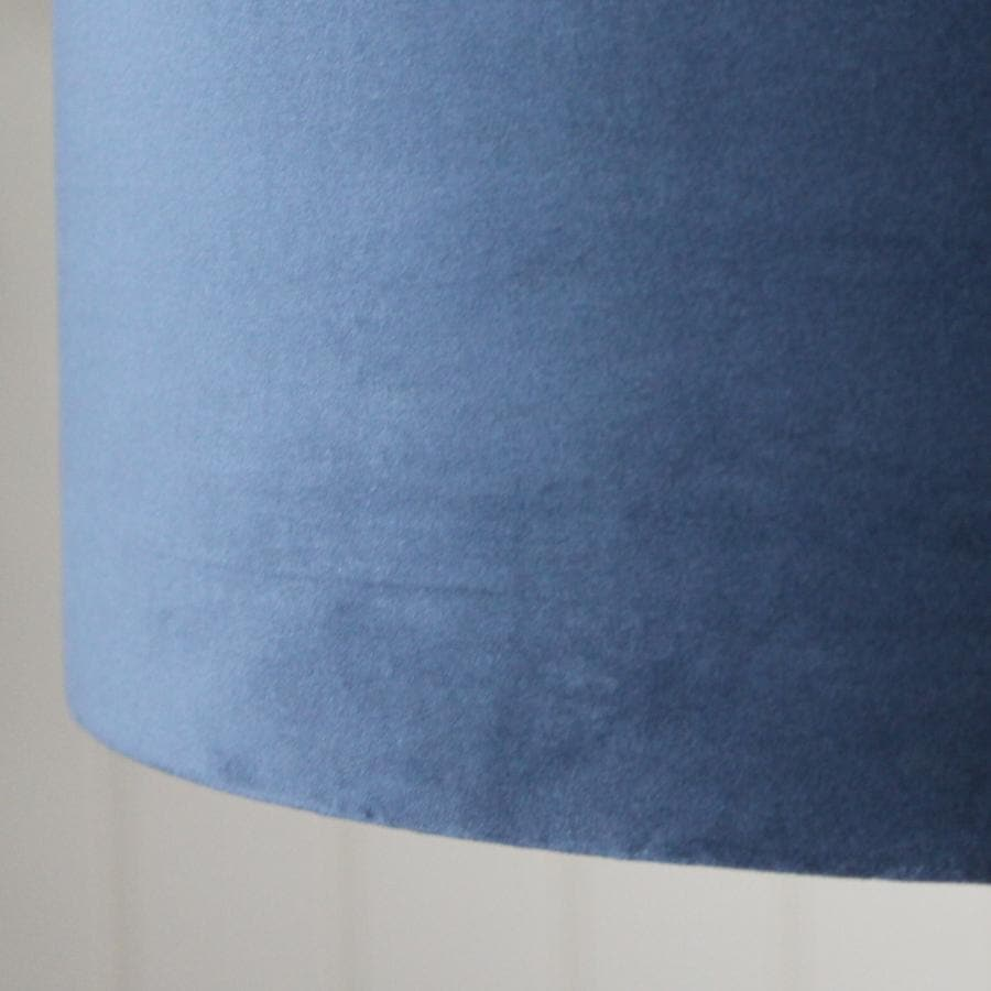 Large Velvet Lamp Shade - Dusty Blue 4