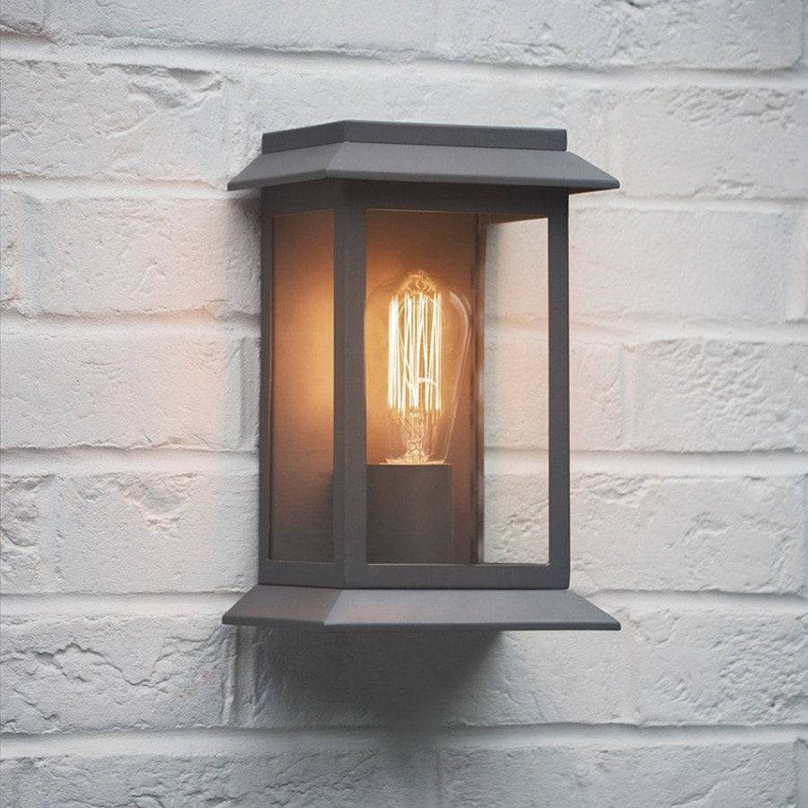 Grosvenor outdoor wall mounted porch light in charcoal the farthing