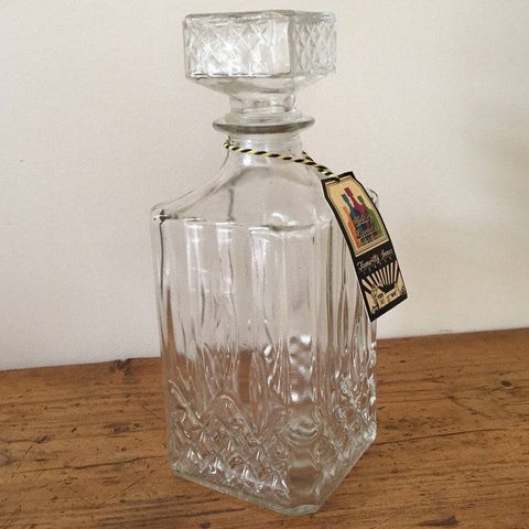 Vintage Style Glass Square Whisky Decanter or Carafe - The Farthing