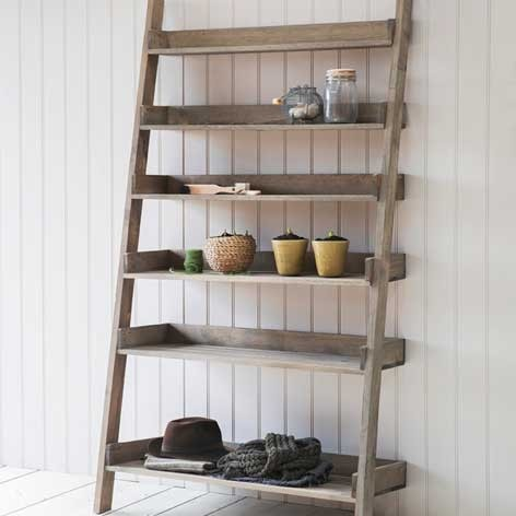 Wide Rustic Aldsworth Up Cycled Wooden Shelf Ladder - The Farthing