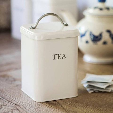Farmhouse Metal Tea Bag Storage Canister in Stone - The Farthing