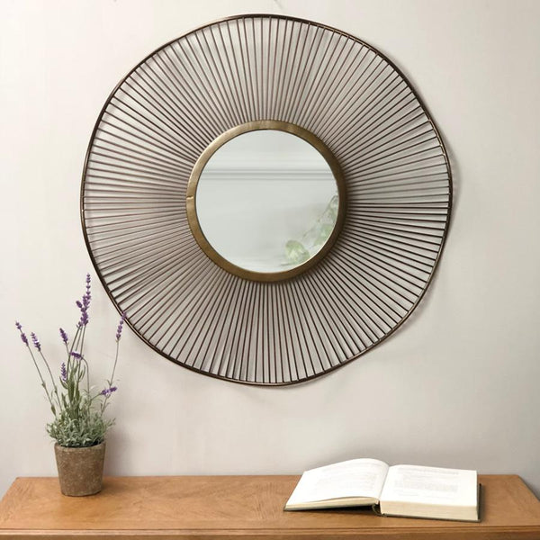 Antiqued Bronze Lilly Wall Mirror  | Farthing