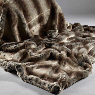 Luxury Soft Faux Fur Throw in Brown Stripe - Extra Large - The Farthing  - 3