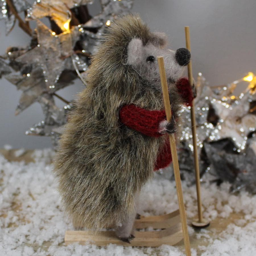 Felt Christmas Skiing Hedgehog 1