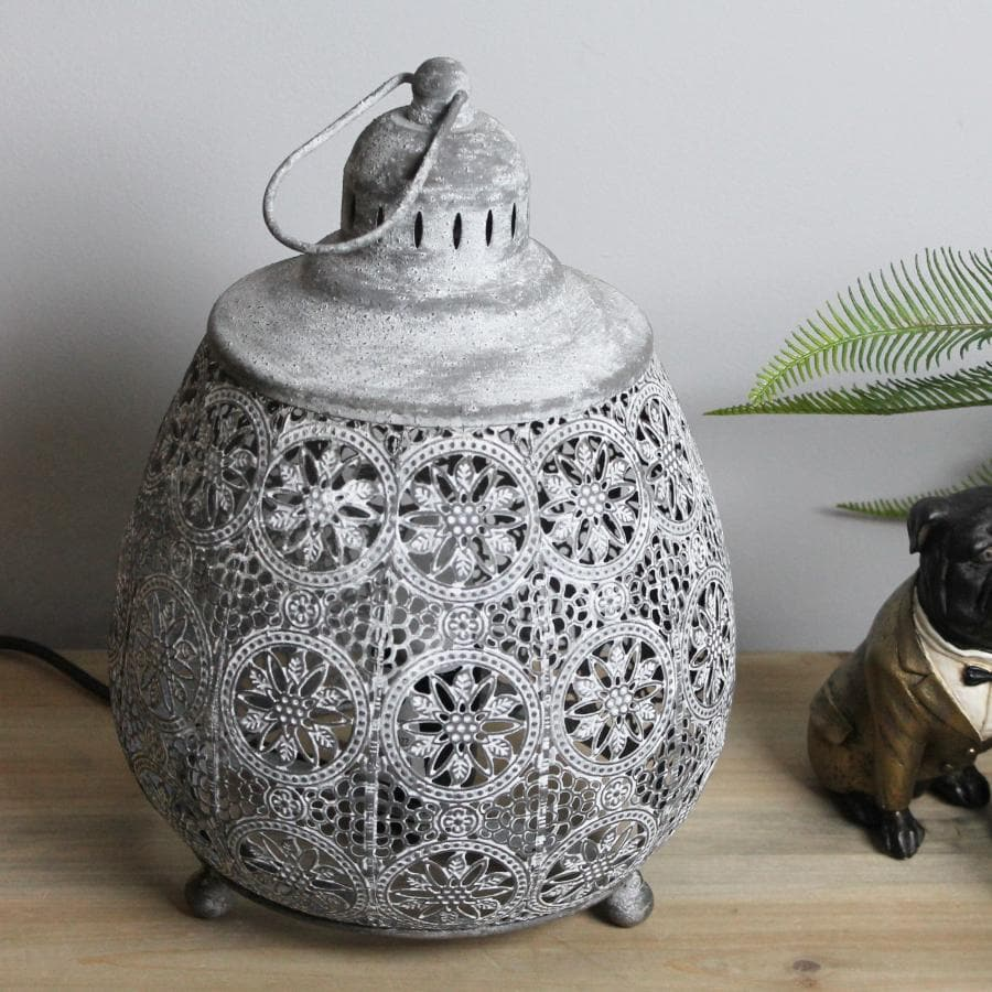 Round Filigree Metal Table Lamp at the Farthing 2