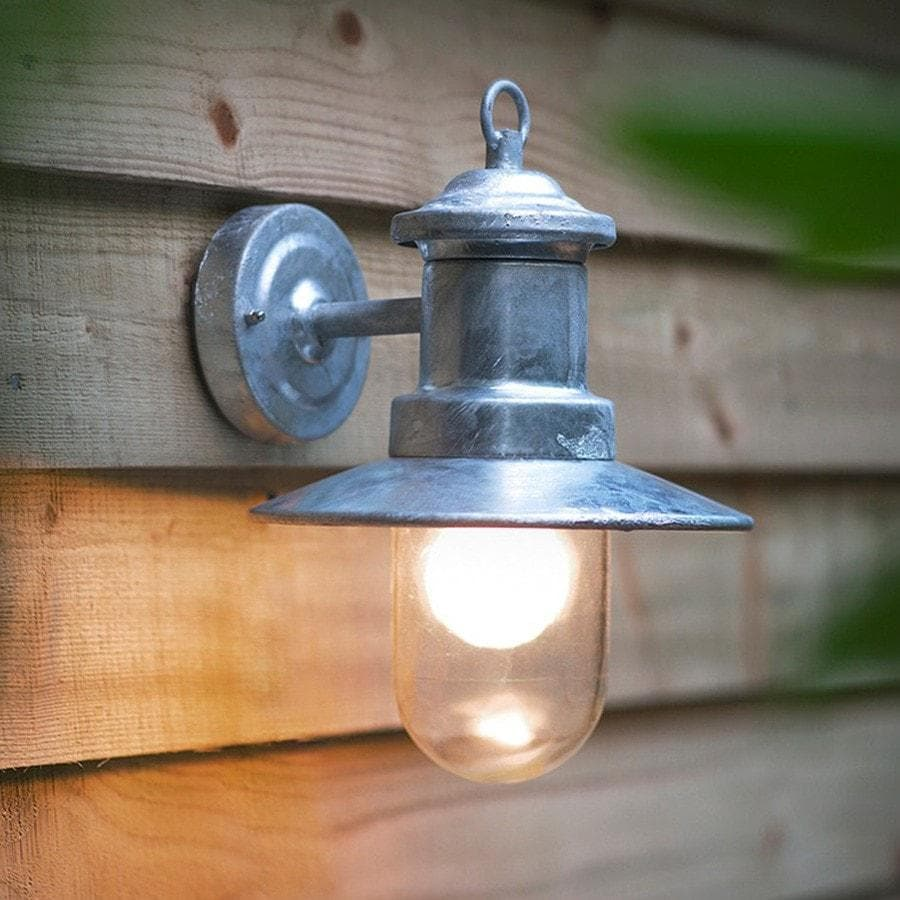 St ives galvanised ship light vintage outdoor lighting for Lampe applique exterieur