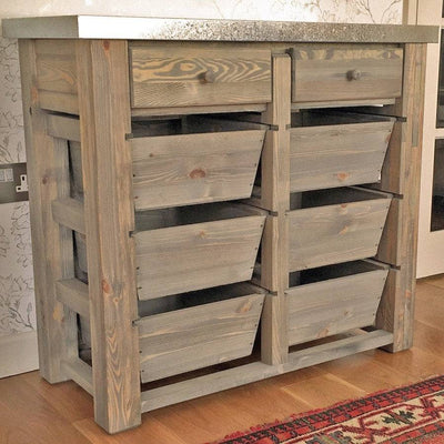 Rustic Aldsworth 8 Drawer Metal Topped Storage Unit - The Farthing  - 1