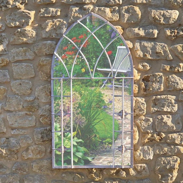 Distressed Metal Warhead Garden Mirror at the Farthing