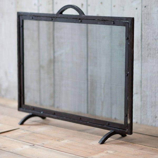 Rustic Aged Wrought Iron Fire Screen - The Farthing  - 1