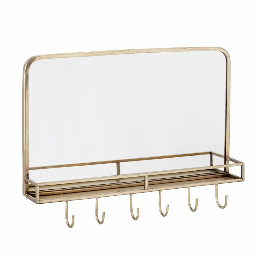 Gold Industrial Inspired Wall Mirror with Shelf & Hooks