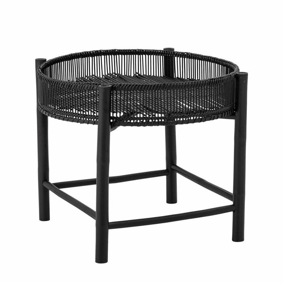 Round Bamboo Side Table in Black