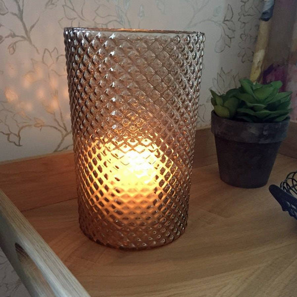 Vintage Style Golden Glass Lena Candle Holder - The Farthing