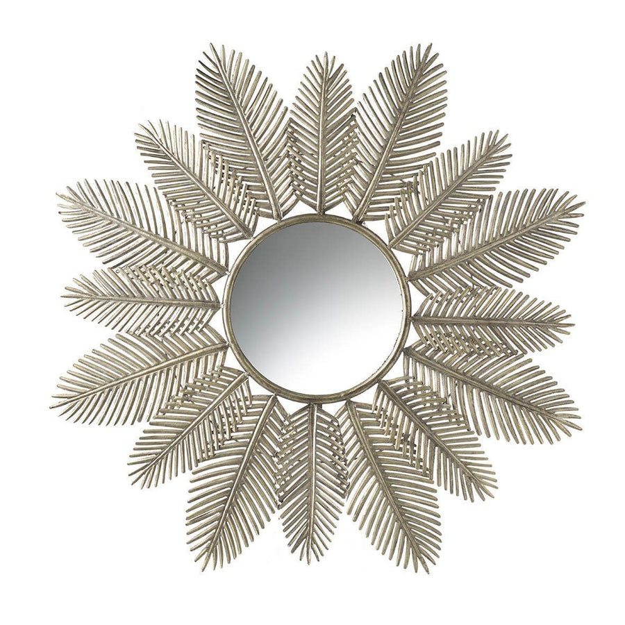 Antiqued Gold Palm Leaves Wall Mirror