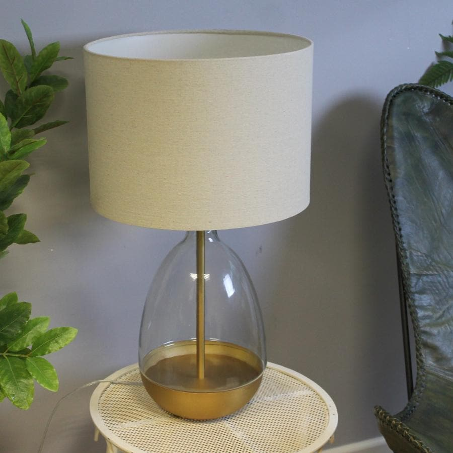 Golden Base Teardrop Glass Table Lamp & Shade | Farthing