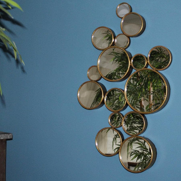 Distressed Gold Circles Decorative Mirror | The Farthing 1