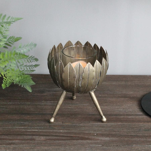 Gold Leaves Candle Holder at the Farthing