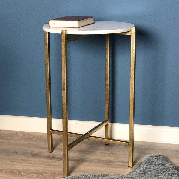 Faux White Marble Top Gold Side Table | The Farthing  3