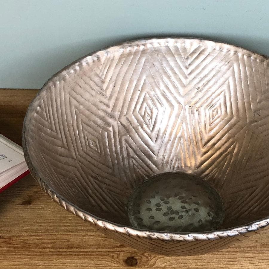 Patterned Gold Metal Bowl at the Farthing 2