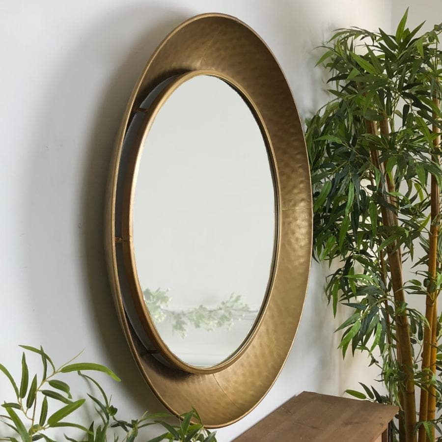 Burnished Gold Large Round Kimberley Wall Mirror | The Farthing 1