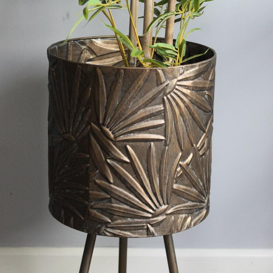 Embossed Palm Leaves Footed Metal Plant Pot 1