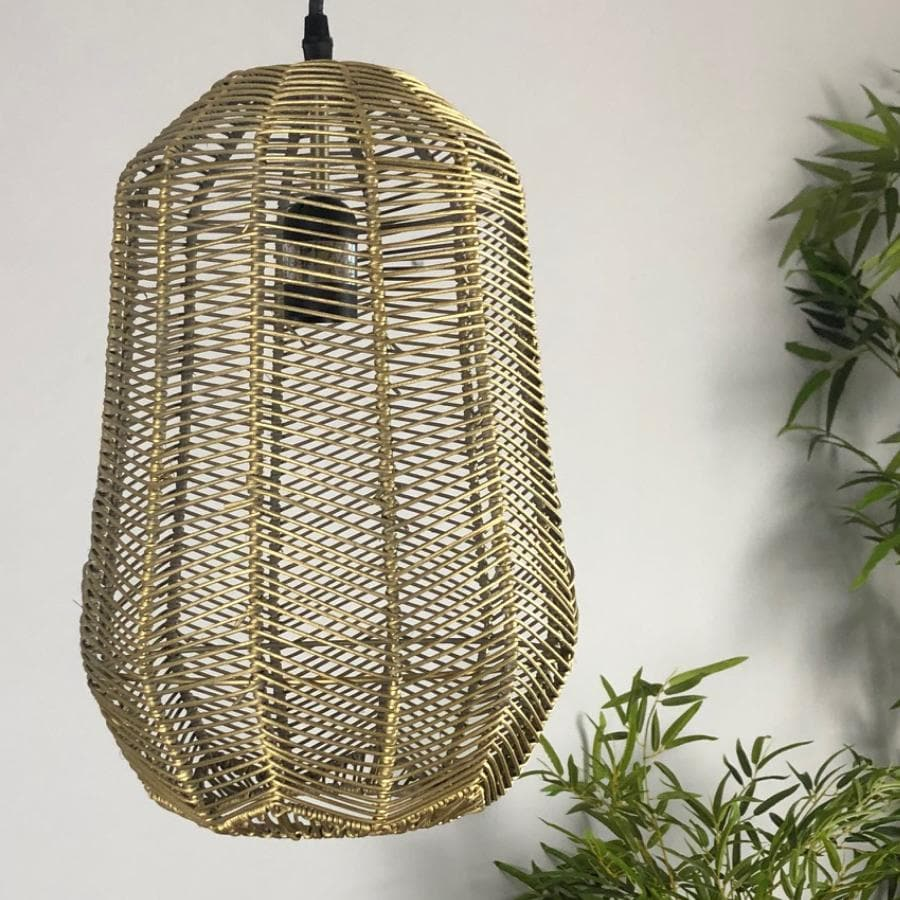 Gold Rattan Pendant Light at the Farthing