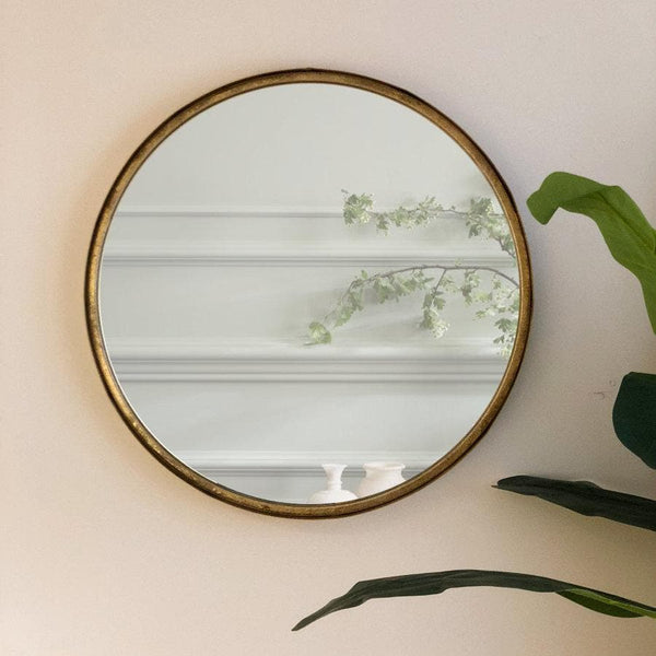 Burnished Gold Round Mirror | The Farthing