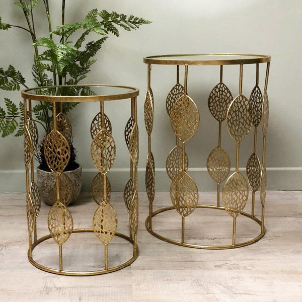 Golden Leaf Design Side Table Set | The Farthing 1