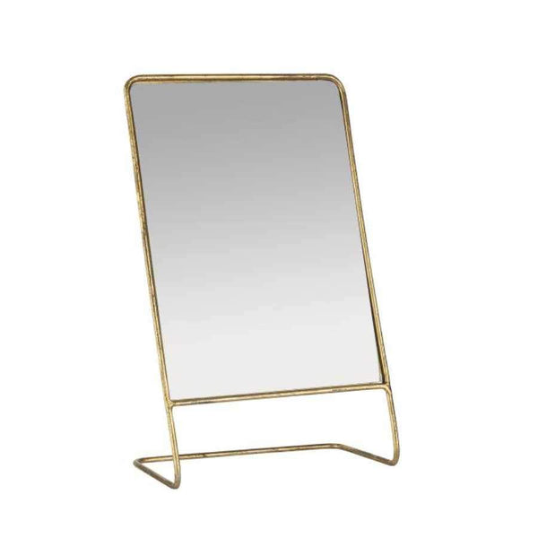 Slim Gold Frame Metal Table Mirror