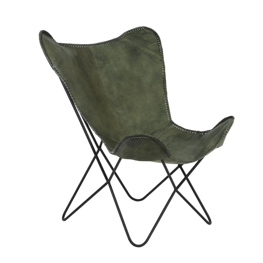 Cool Green Leather Wingback Butterfly Chair Camellatalisay Diy Chair Ideas Camellatalisaycom