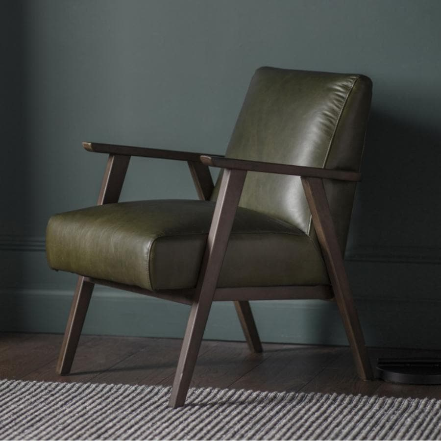 Relaxed Green Leather Chair