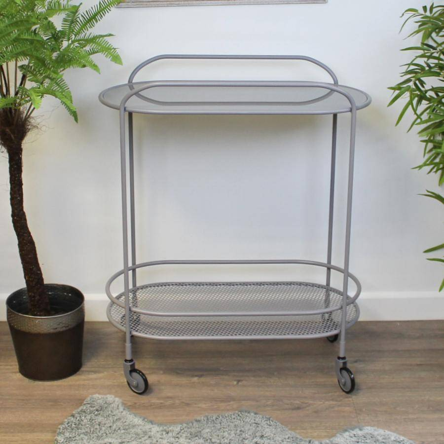 Grey Metal Trolley Table with Glass Top | The Farthing 1