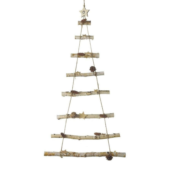 Birch Wooden Hanging Tree with Stars and Pinecones | Farthing