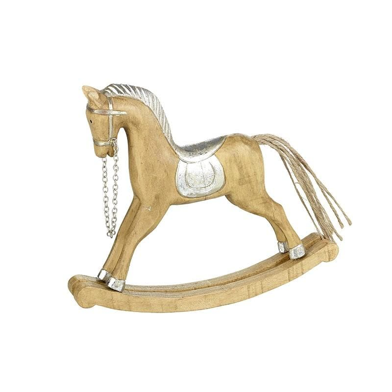 Rustic Wooden Rocking Horse Decoration