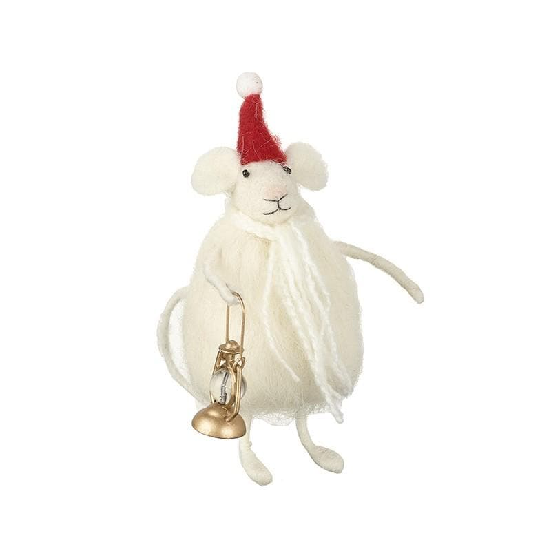 Felt Christmas Mouse with Gold Lantern 11