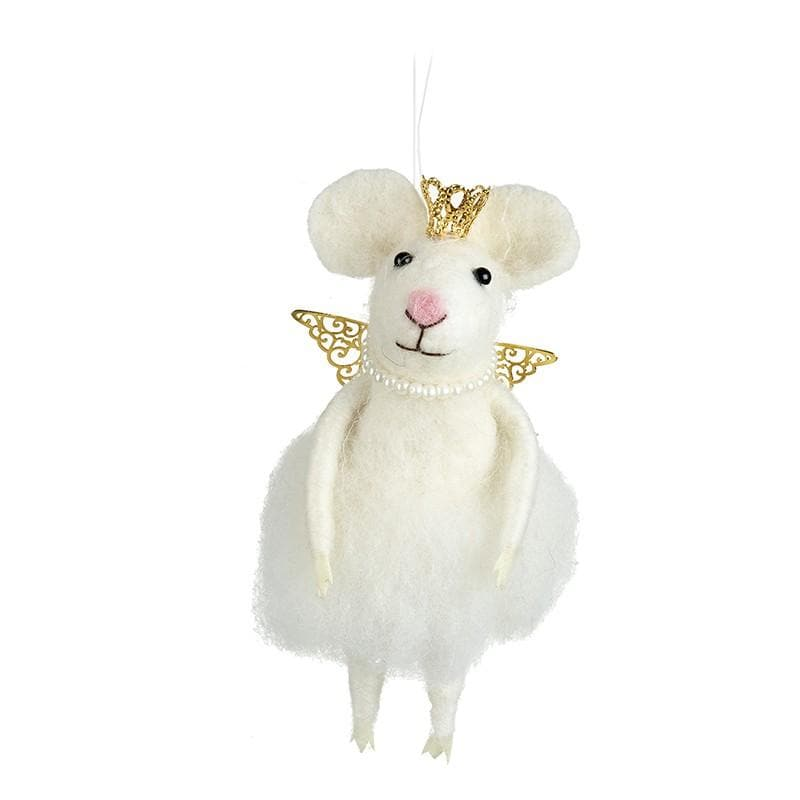 Felt Christmas Angel Mouse Decoration with Gold Wings