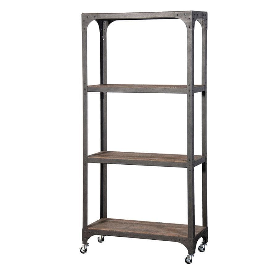Industrial Wood and Metal Shelving Unit at the Farthing