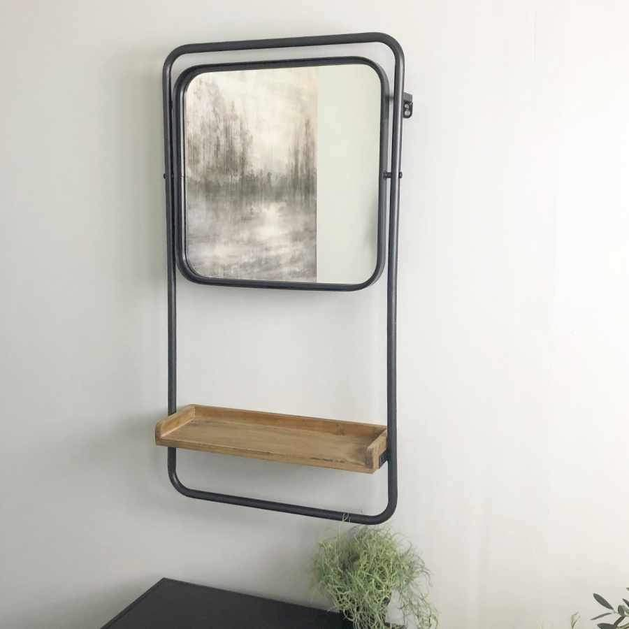 Tilting Metal & Wood Mirror with Shelf 1