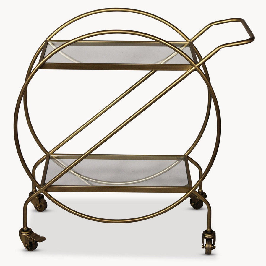 Distressed Gold Drinks Trolley with Handle at the Farthing