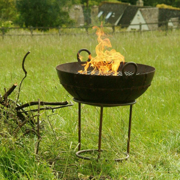 Kadai Rustic Metal Fire Bowl BBQ With Stand - The Farthing