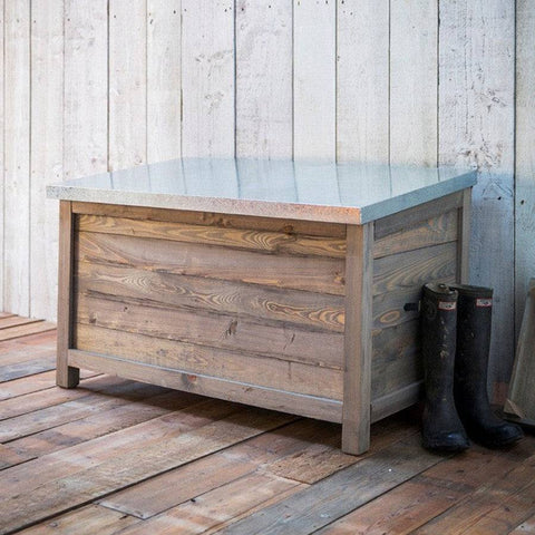 Large Rustic Aldsworth Outdoor Storage box with Zinc Top - The Farthing