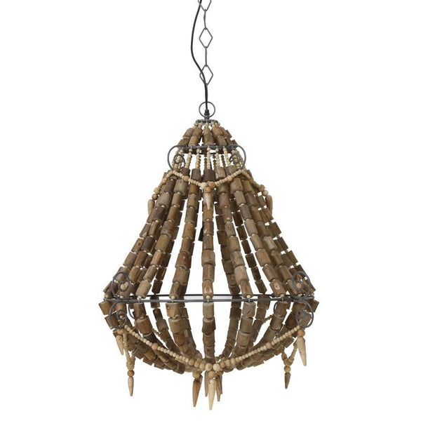 Large Natural Beaded Vintage Style Pendant Light at the Farthing