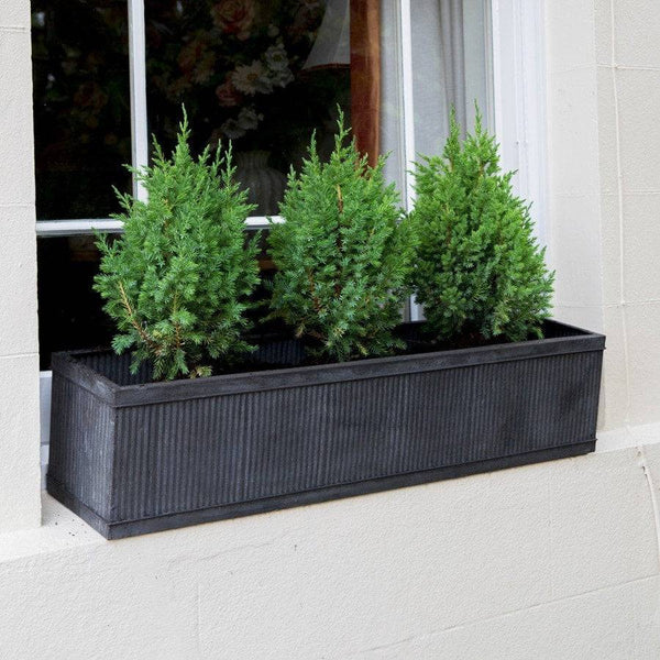 Rustic Vence Galvanised Fluted Trough - Large - The Farthing